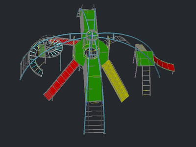 Mulitfunction playground structure with slide and spiral, in 3d