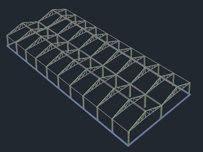 Greenhouse Workshop 20x50 3d In Autocad Cad 1 75 Mb