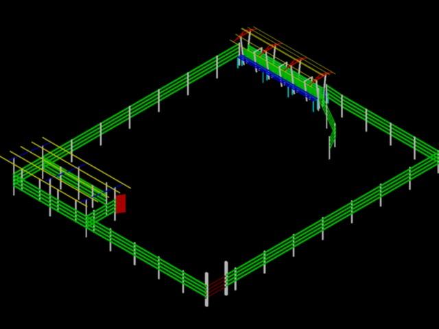 Corral para vacunos con manga en 3D