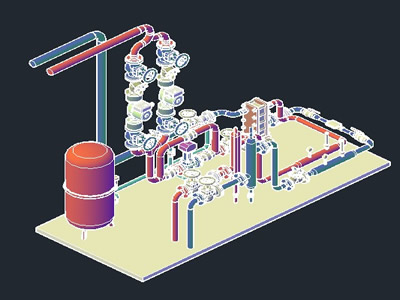 Heat Exchanger Substation In 3d In Autocad Cad 5 05 Mb