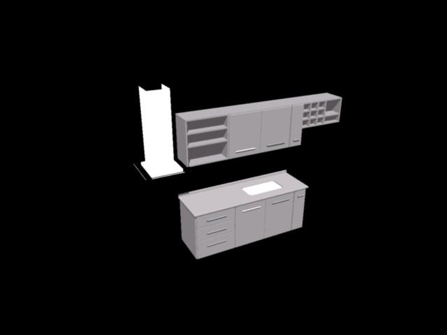 Mesada y muebles de cocina 3d en AutoCAD | CAD (253.94 KB ...