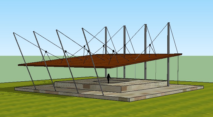 Cable Stayed Roof For Outdoor Cafe In 3ds Cad 6 Mb