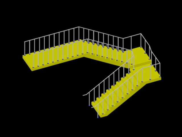 Staircase with handrails in 3d