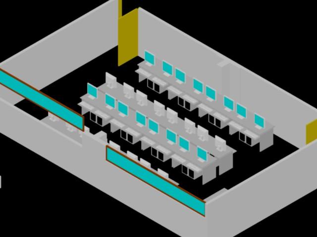 Salon de computo en 3d - Bibliocad