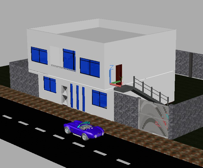 Two storey house 3d in autocad download cad free for Home design 3d gratis italiano