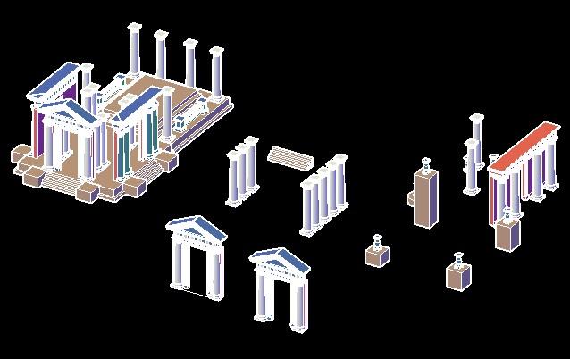 roman architecture 3d elements bibliocad
