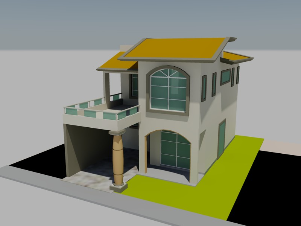 Casa habitaci n en 3d en autocad descargar cad for Casa 3d gratis
