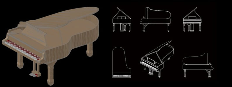 Grand Piano 3d In Autocad Download Cad Free 360 25 Kb