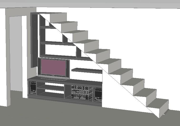 Mueble bajo escalera en autocad descargar cad gratis 1 for Biblioteca debajo de la escalera