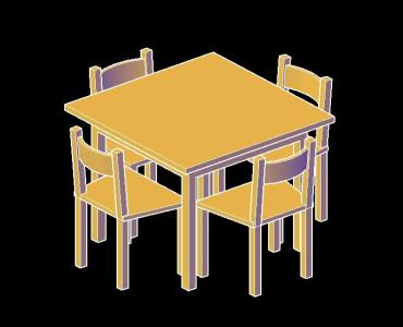 rustic table and chairs 3d in autocad cad  68 38 kb