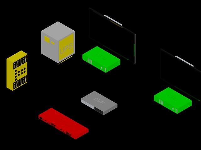 DVR -  Monitor -  UPS 3D