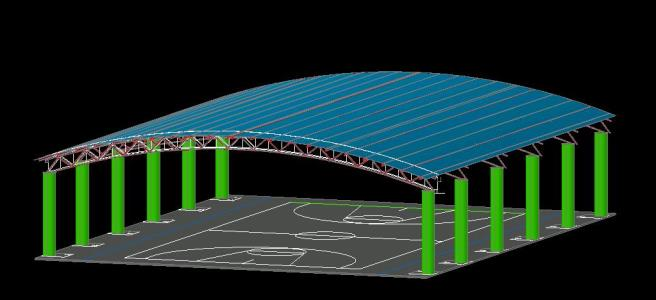 Roofing 3d Basketball Court In Autocad Cad 446 92 Kb