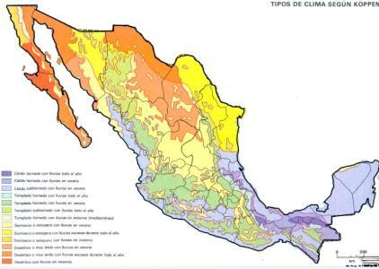 Imagen De Los Tipos De Clima En La República Mexicana Con División