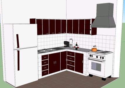 Cocina muebles 3d en SKP | Descargar CAD (1.51 MB) | Bibliocad