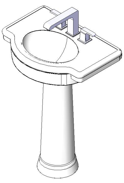 Lavabo con pedestal bibliocad for Lavabo con pedestal