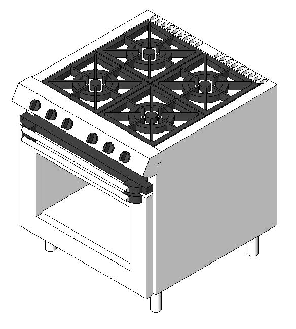 Gas stove with 4 burners