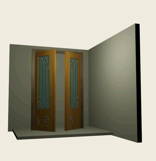 Double door with iron art
