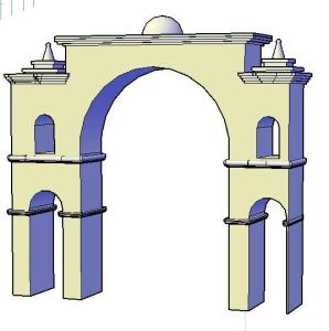 3D carved stone arch