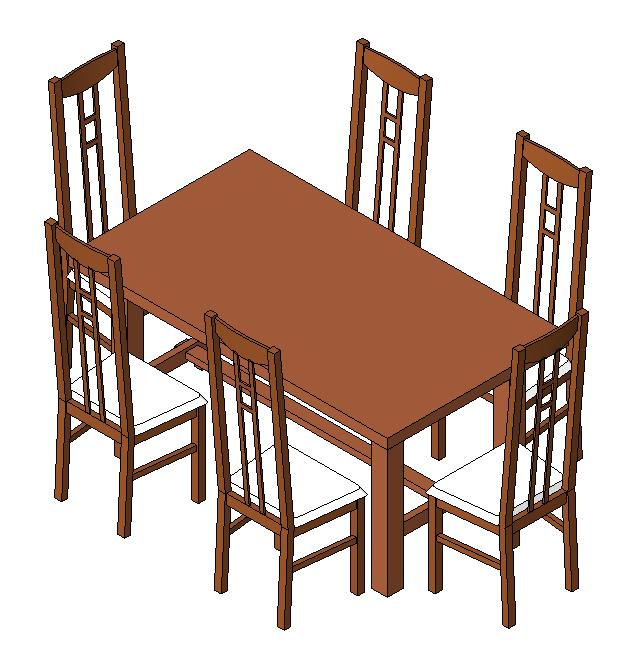 Dining table in RFA | CAD download (396 KB) | Bibliocad