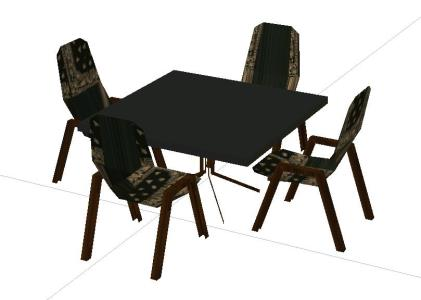 Table with 4 chairs in 3d