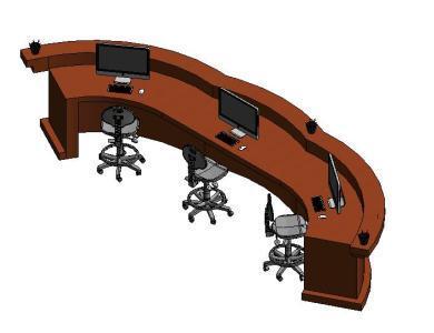 Mesa de recepcion curva 3d