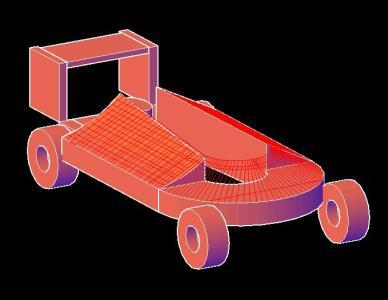 Carro modelado en 3d AUTOCAD