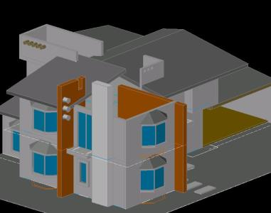 3d house in AutoCAD | Download CAD free (309 04 KB) | Bibliocad