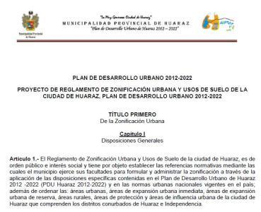 Zoning Regulation - Huaraz (2012 - 2022)