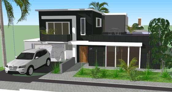 Casa moderna 3d en skp descargar cad mb bibliocad for Casa moderna milano