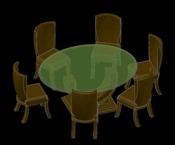 Dining table and chairs 3d