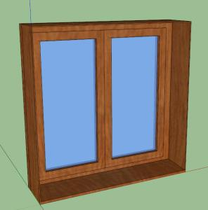 WOODEN WINDOW - double glass - 3D