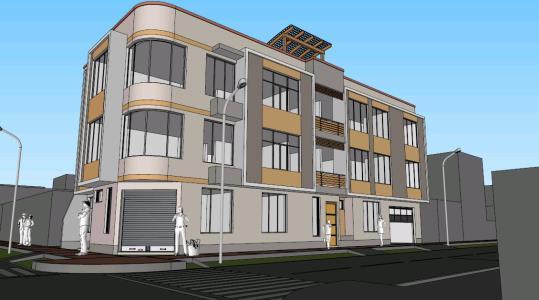 MULTI-FAMILY HOUSING AND TRADE; 3 FLOORS IN CORNER - 3D