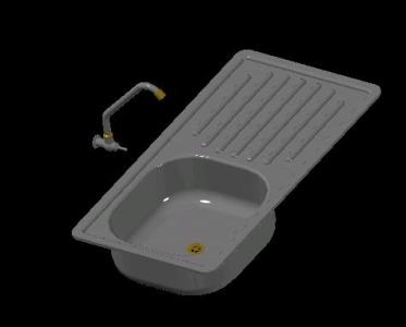 Kitchen sink stainless steel 3D