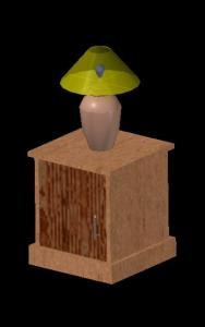 Bedside table and lamp 3D