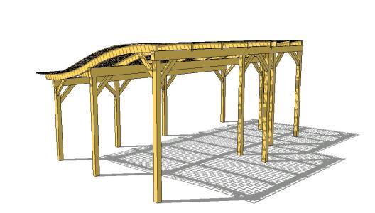 Pergola de madera con techo enrejado