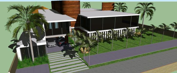 Casa moderna en skp descargar cad mb bibliocad for Casa minimalista 90m2