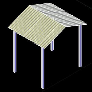 Zinc shed tile and metal supports 3D