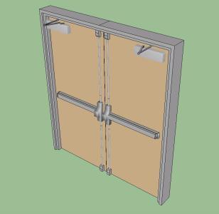 Double Door Push Bar In Skp Cad Download 162 34 Kb