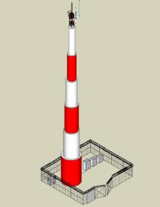 Telecommunication monopole tower in SKP | CAD (530 3 KB