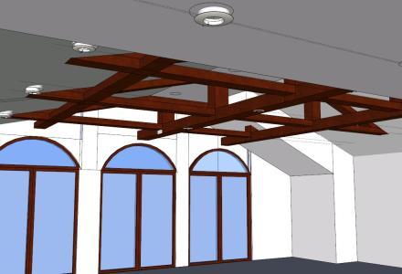 Diseño de madera en techo