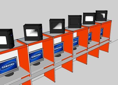 Mobiliario de ciber 3D