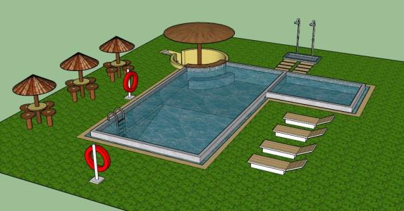 3d Pool Swimming Pool In Skp Download Cad Free 2 57 Mb