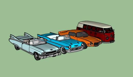 Set of classic cars 3D