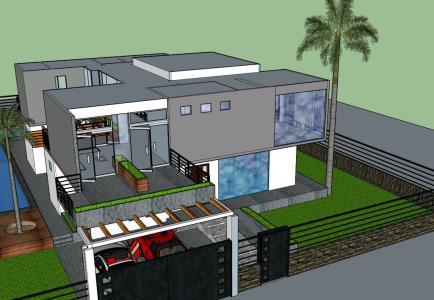 Casa minimalista 3d en skp descargar cad mb for Casa minimalista 4 5x15