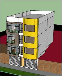 multifamilar 4 story building; residential and commercial - 3D