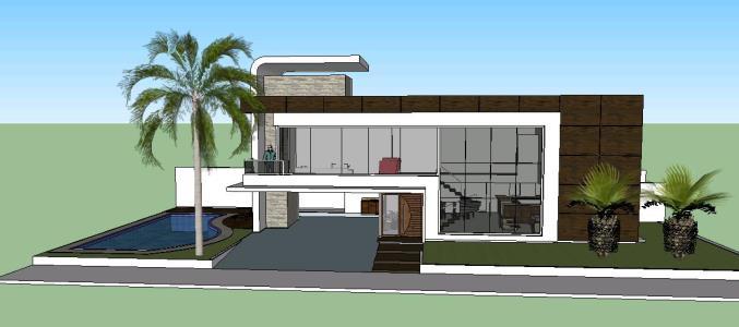 Casa 3d moderna en skp descargar cad mb bibliocad for Casa moderna 99 arena
