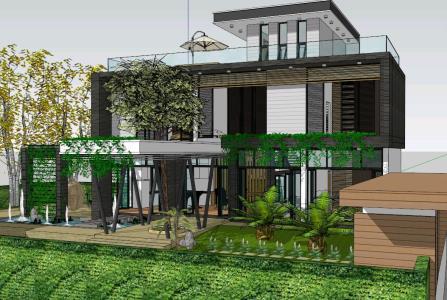 Casa Dos Niveles Y Terraza In Skp Cad 18 76 Mb Bibliocad