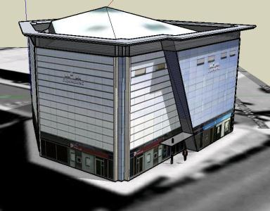 Housing and trade offices in 3d