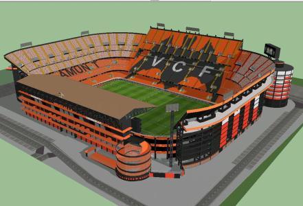 Estadio de mestalla 3d