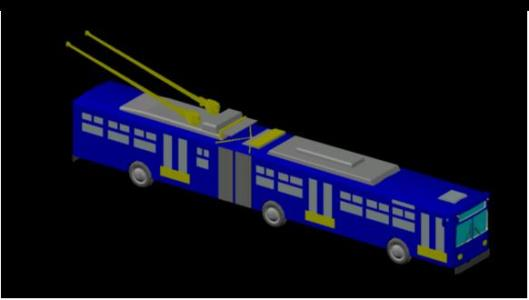 Trolleybus 3d in cad